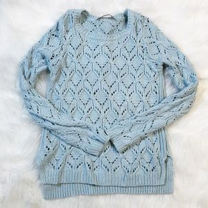 LOFT light blue knitted long sleeve sweater medium